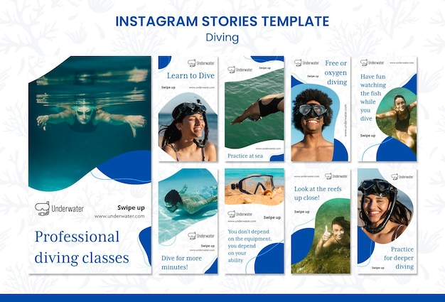 Duikconcept instagram verhalen sjabloon Gratis Psd