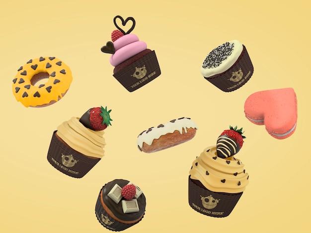 Dulces y cupcakes flotando PSD gratuito