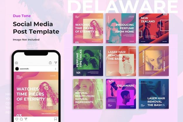 Duotoon muziek modetips sociale media banner instagram-sjablonen Premium Psd