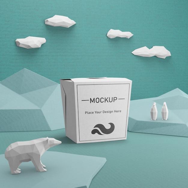 Duurzame papieren zak met ijsbeerconcept Gratis Psd