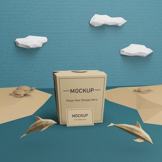 Duurzame papieren zak voor oceaandag Gratis Psd