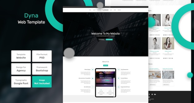 Dyna-services en marketingwebsjabloon Premium Psd