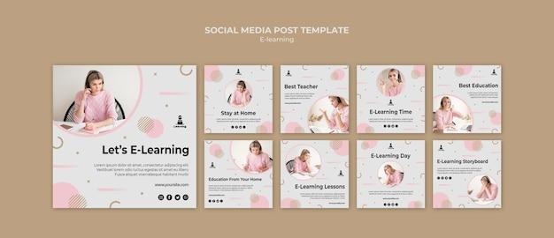 E-learning social media postsjabloon Gratis Psd