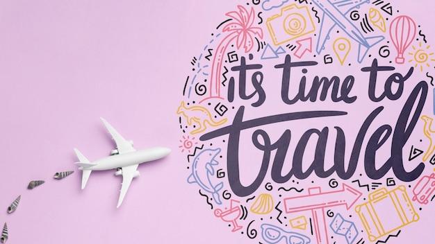 È tempo di viaggiare, citazione motivazionale dell'iscrizione per le vacanze che viaggiano concetto Psd Gratuite