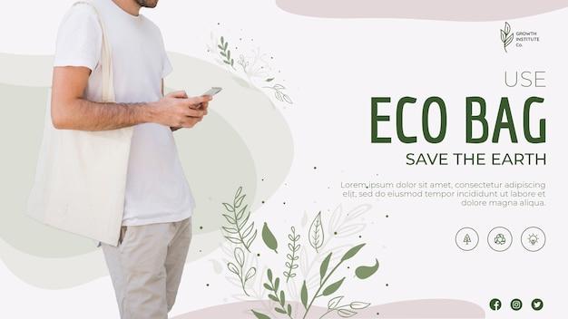 Eco tas recycle voor milieu spandoeksjabloon Gratis Psd