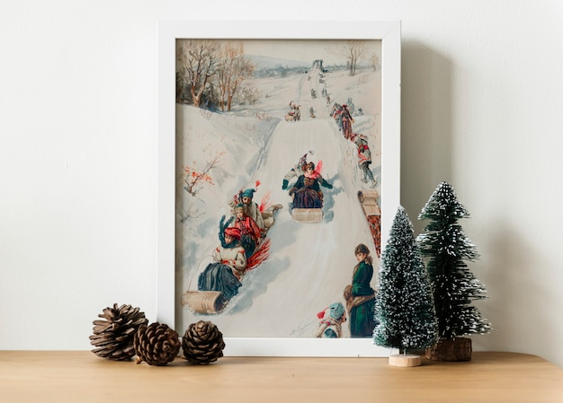 Een hand tekening foto van slee in de winter foto Gratis Psd