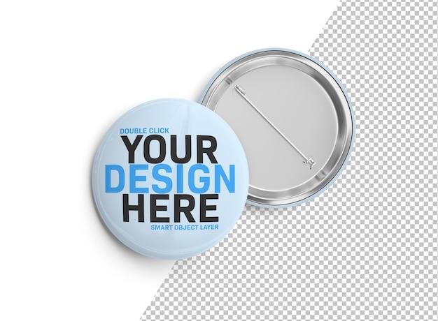 Een mockup van een badge op wit uitgesneden Premium Psd