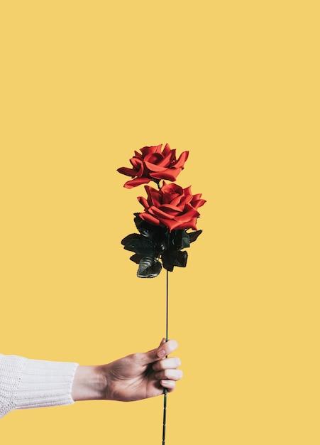 Een roos geven voor valentijnsdag Gratis Psd