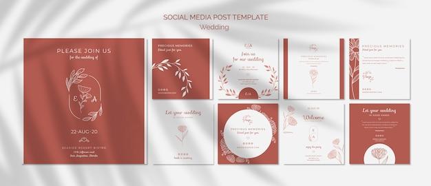 Eenvoudige en elegante instagram-postcollectie voor bruiloft Gratis Psd