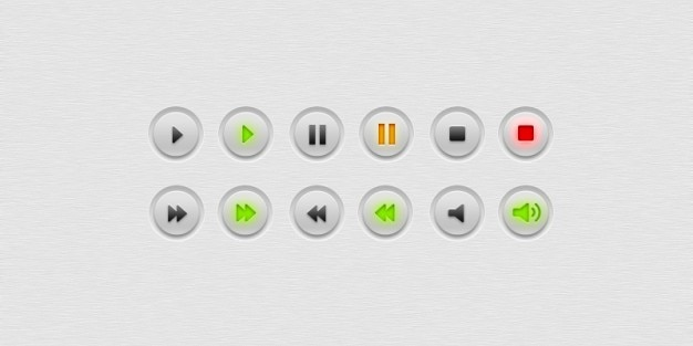 Eenvoudige en minimale player knoppen Gratis Psd
