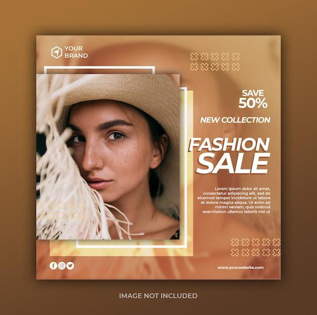 Eenvoudige moderne mode-verkoopbanner of vierkante flyer voor postsjabloon voor sociale media Premium Psd