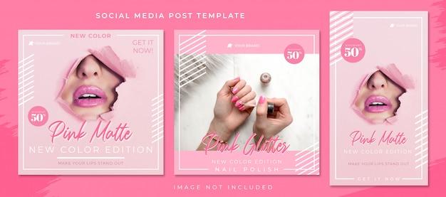 Eenvoudige roze cosmetica en mode verkoop social media post-sjabloon Premium Psd