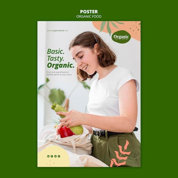 Eet biologische en gezonde groenten poster sjabloon Gratis Psd