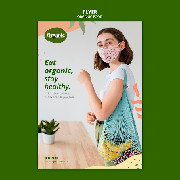 Eet biologische groenten flyer-sjabloon Gratis Psd