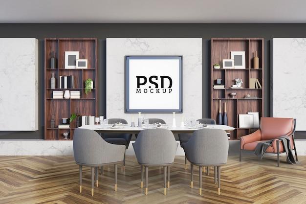 Eetkamer met accenten zijn decoratieve planken en fotolijsten Premium Psd