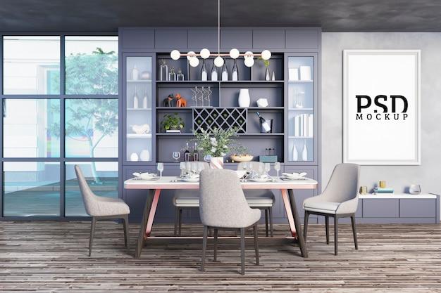 Eetkamer met decoratieve kasten en fotolijsten Premium Psd