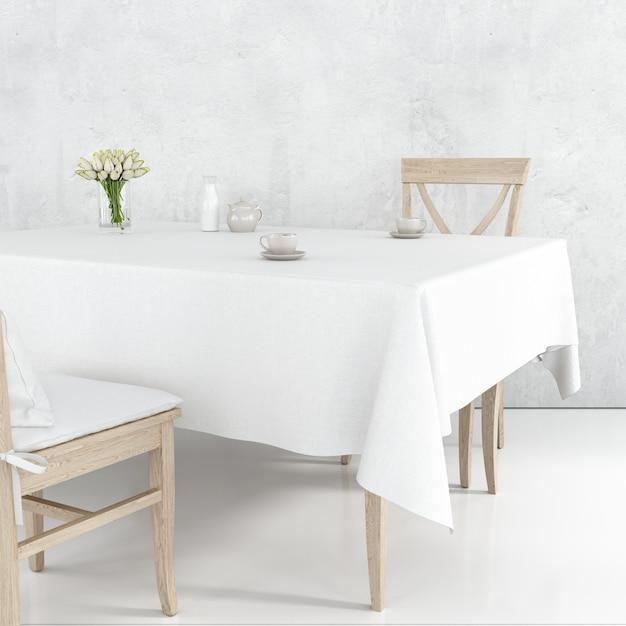 Eettafel mockup met wit doek en houten stoelen Gratis Psd
