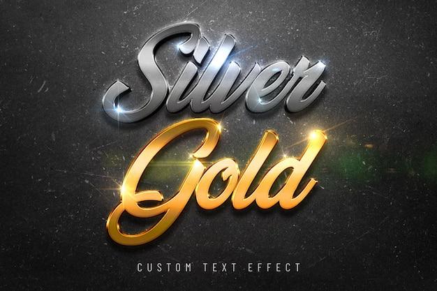 Efecto de estilo de fuente de oro plateado maqueta 3d PSD Premium