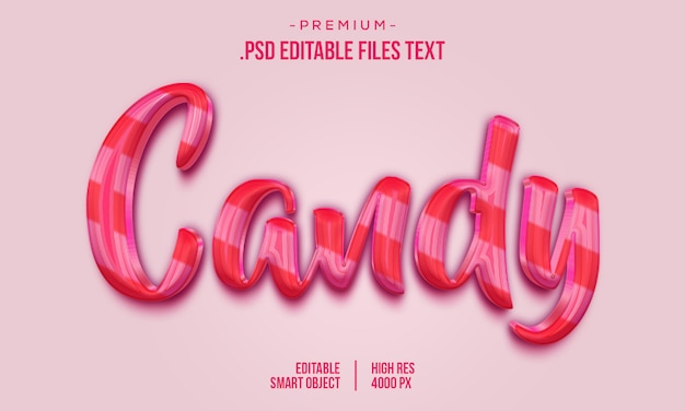 Efecto de estilo de texto 3d candy, tarjeta de letras dibujadas a mano, caligrafía de pincel moderno, efecto de texto candy, conjunto elegante efecto de texto abstracto rosa púrpura púrpura PSD Premium