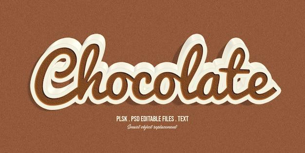 Efecto de estilo de texto 3d chocolate PSD Premium