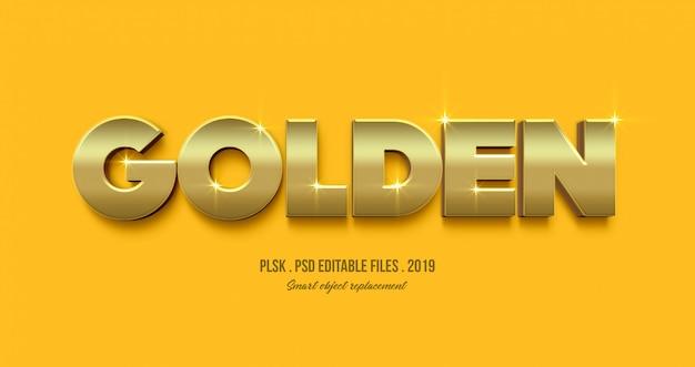 Efecto de estilo de texto 3d dorado PSD Premium