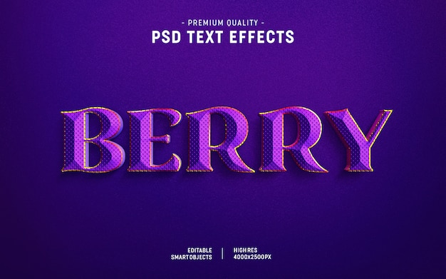 Efecto de estilo de texto de bayas PSD Premium