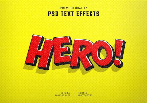 Efecto de estilo de texto cómico de héroe PSD Premium