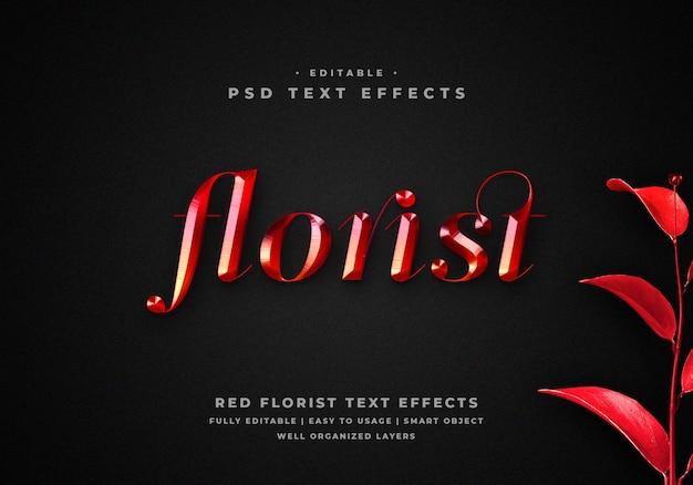 Efecto de estilo de texto de floristería de metal rojo 3d PSD Premium
