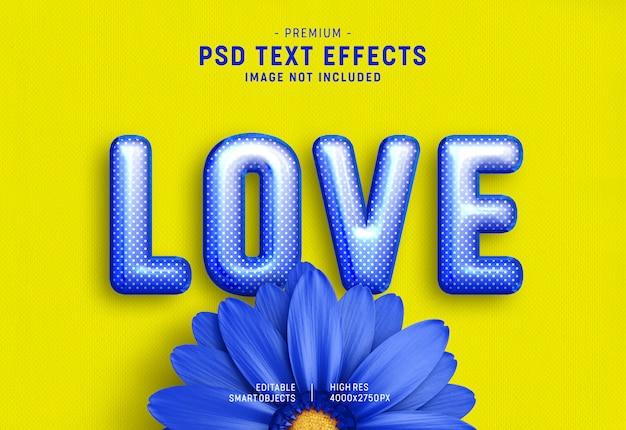 Efecto de estilo de texto de globo de san valentín azul sobre amarillo PSD Premium