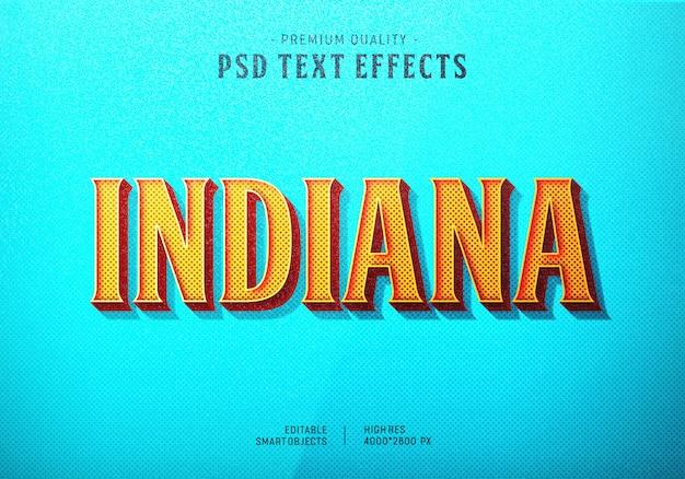 Efecto de estilo de texto de indiana PSD Premium