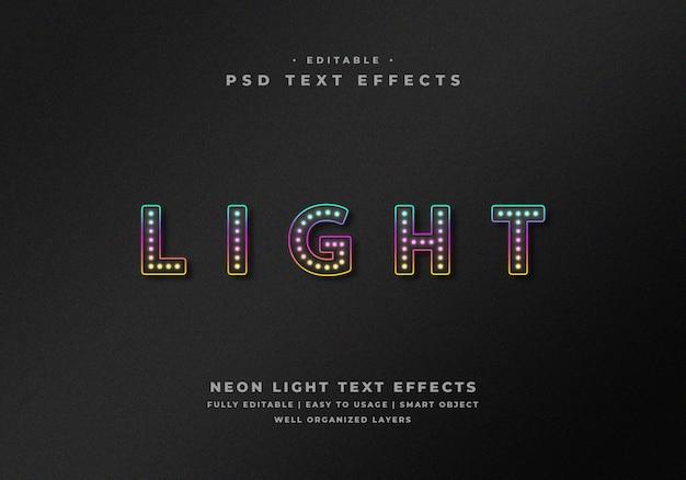 Efecto de estilo de texto de luz de neón editable PSD Premium