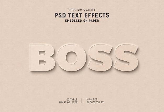 Efecto de estilo de texto en relieve en papel PSD Premium