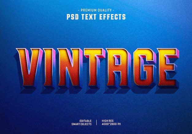 Efecto de estilo de texto vintage PSD Premium