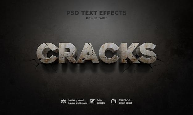 Efecto de texto 3d de grietas PSD gratuito