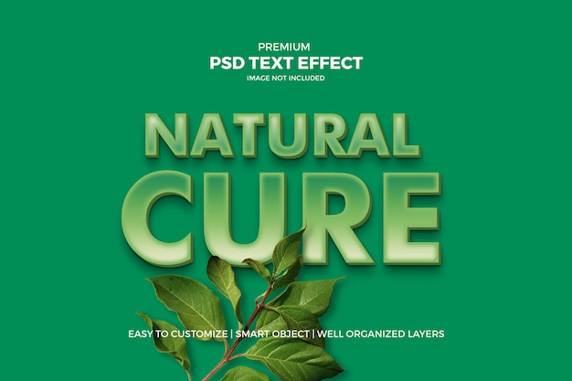 Efecto de texto 3d verde natural PSD Premium