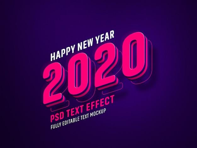 Efecto de texto de año nuevo PSD Premium
