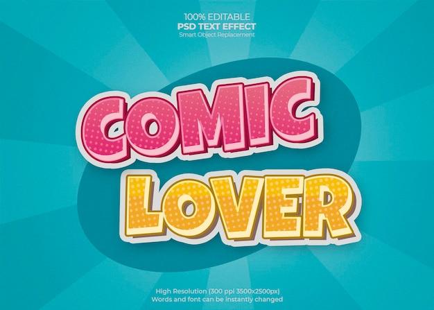 Efecto de texto comic lover PSD gratuito