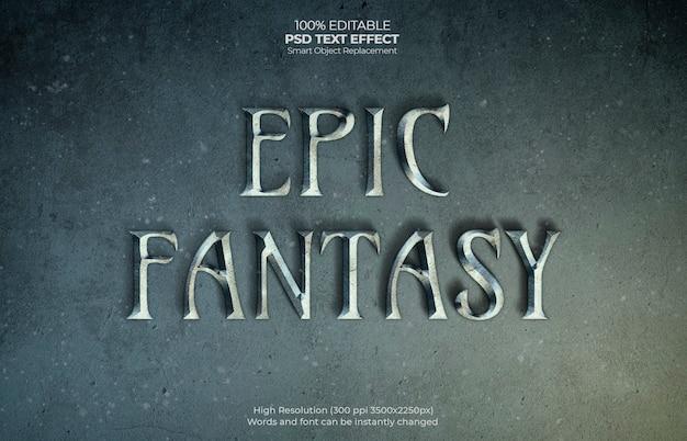 Efecto de texto de fantasía épica PSD gratuito