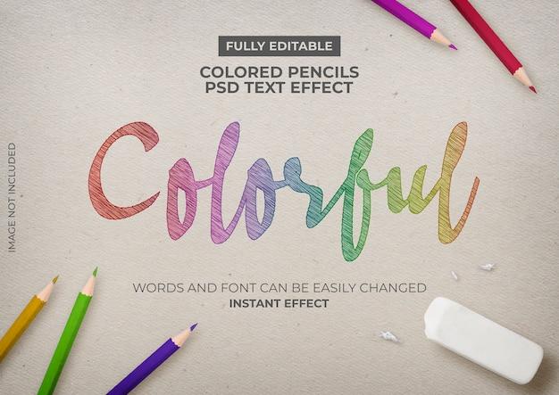 Efecto de texto de lápices de colores PSD gratuito