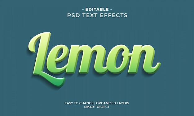 Efecto de texto de limón 3d moderno y colorido PSD Premium