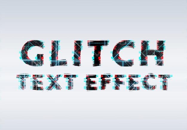Efecto de texto de neón con glitch negro azul y rojo PSD Premium
