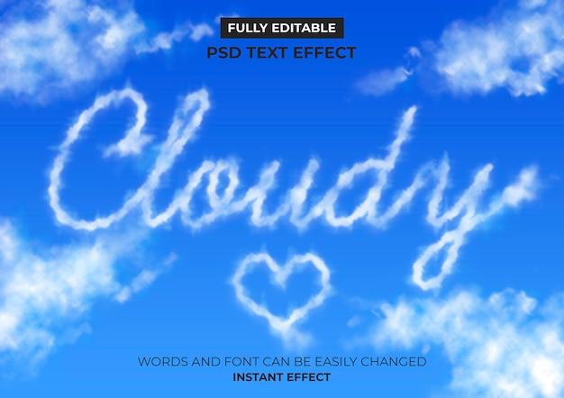 Efecto de texto de nubes PSD gratuito