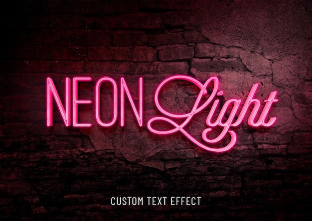 Efecto de texto personalizado con luz de neón PSD Premium