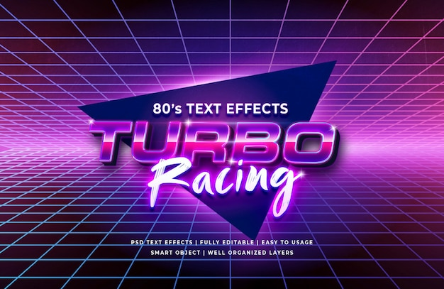 Efecto de texto retro turbo racing 80's PSD Premium