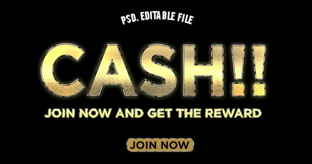 Efecto de texto de título de unión en efectivo en color dorado PSD Premium
