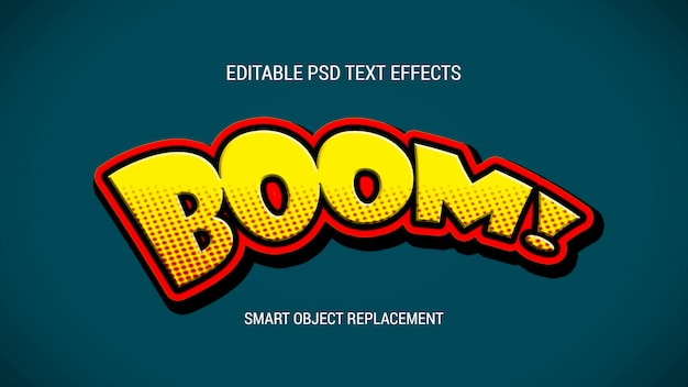 Efectos de texto editables de estilo de dibujos animados PSD Premium