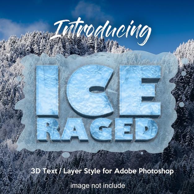 Efectos de texto de estilo de capa de photoshop 3d de hielo congelado PSD Premium