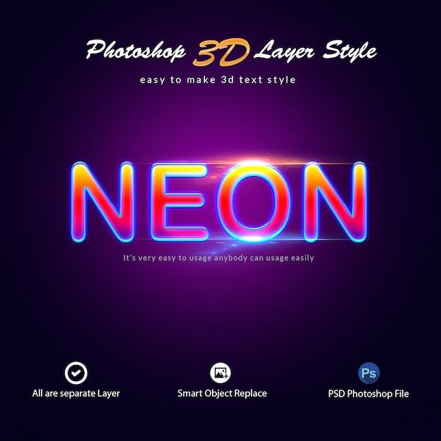 Efectos de texto de estilo de capa de photoshop de neón PSD Premium