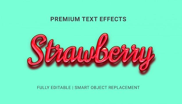 Efectos de texto de fresa PSD Premium