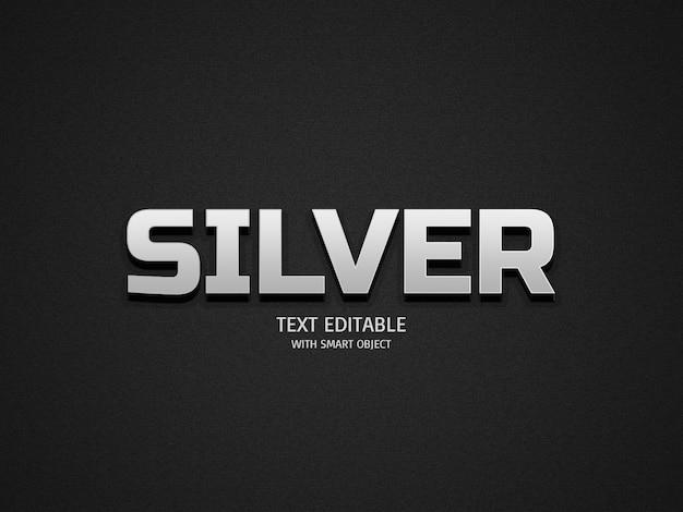 Effetti di testo argento Psd Premium